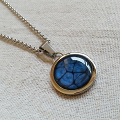 FREE POST Midnight blue painted resin pendant on rolo chain