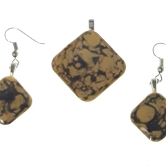 Tan with Black Swirl Earrings and Pendant