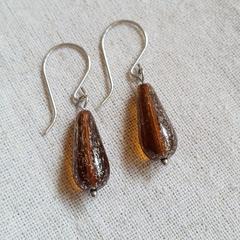 FREE POST Amber Czech glass bead earrings