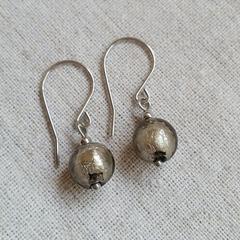 FREE POST Silver foil glass bead earrings