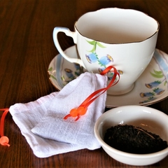 Set of 2 Cotton Reusable Tea Bags, Loose Leaf Tea Bags, Orange Ribbon and Glass