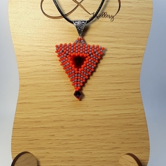 Triangle Beaded Swarovski Rivoli Pendant Necklace orange Purple