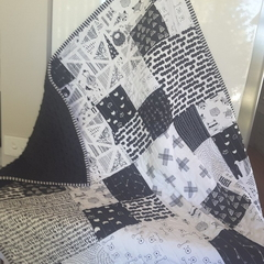 Black and white woodland baby quilt/nursery quilt/toddler quilt  baby quilt