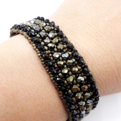 Black and Brown Iris Czech  Beaded Bracelet Formal Trendy Boho