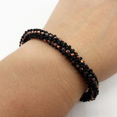 Black and Copper glass Beaded Bracelet Bangle Formal Trendy Boho