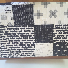 Black and white woodland baby quilt/nursery quilt/toddler quilt