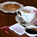 Set of 2 Cotton Reusable Tea Bags, Loose Leaf Tea Bags, Pink Ribbon and Glass Be
