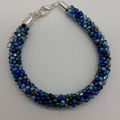 Kumihimo Bead  Bracelet Blue Green Bronze Silver Turquoise Teal and Brown