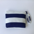 Bold navy and white striped make up bag