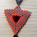 Triangle Beaded Swarovski Rivoli Pendant Necklace orange Purple