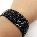 Black and hematite Silver Herringbone