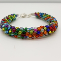Kumihimo Bead  Bracelet Blue Green Yellow Red Orange   Turquoise Pink and Purple