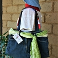 Blue Denim with Green Scarf Tote Bag, Shoulder Bag, Eco Friendly Bag