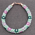 Kumihimo Bead  Bracelet Flowers Purple Pink Teal