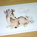 1st Birthday Card - One - Boho Deer