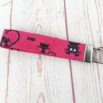 Black Cats on Pink Key Fob Wrist Strip