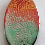 Wavy Red and Green Oval Pendant/Necklace