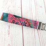 Batik Pink and Grey Key Fob Wrist Strap