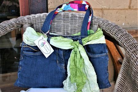Blue Denim with Green Scarf Tote Bag, Shoulder Bag, Eco Friendly Bag