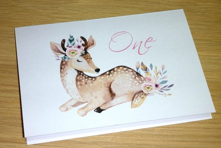 1st Birthday Card - One - Boho Deer