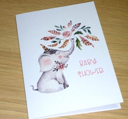 Baby Shower card - boho elephant