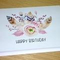 Female Happy Birthday card - boho bouquet