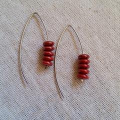 FREE POST Metallic rustic red Czech glass bead earrings