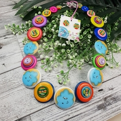 Cloudy Rainbows - Button Necklace - Button Earrings