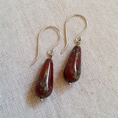 FREE POST Deep red rustic Czech glass bead teardrop earrings
