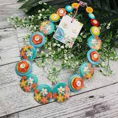 Blooming Beauty - Button Necklace - Button Earrings