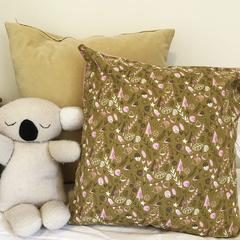 Scandi woodland mustard and pink cushion - home decor, kids decor