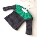3 - 6 mth Baby Jumper , FREE POST , Dark Grey / Green , Cotton, Hand Knit