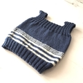3 - 6 mths Baby Vest, FREE POST ,  Wool, Blue / Cream, Hand Knit
