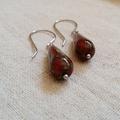 FREE POST Deep red rustic Czech glass bead teardrop earrings