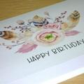 Female Happy Birthday card - boho bouquet