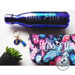 Silver Glitter Name on Oil Slick Purple Blue Drink Bottle