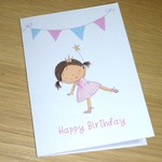 Girls Happy Birthday card - little princess