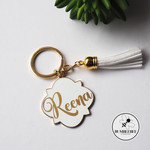 Large White & Gold Enamel Key Ring |Personalised Gift| Monogram, name or initial