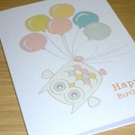 Female Happy Birthday card - owl with balloons