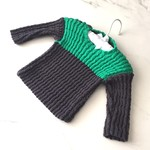 3 - 6 mth Baby Jumper , Dark Grey / Green , Cotton, Hand Knit
