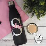 Black Monogram with  Name Drink Bottle * Custom Made * Personalised *