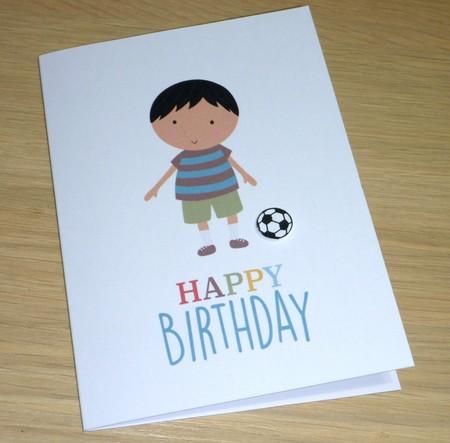 Boys Happy Birthday card - soccer