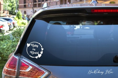 Baby on Board Car Decal, Circle Heart Frame