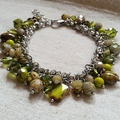 FREE POST Rustic green Czech glass bead charm bracelet