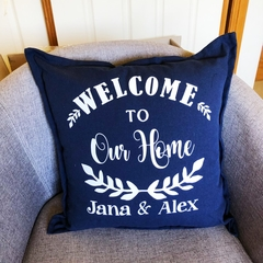 Personalised Family Cushion with names, Welcome, Housewarming, gift,