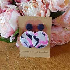 Navy swirl polymer clay earrings