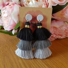 Silver & black waterfall tassel earrings - large