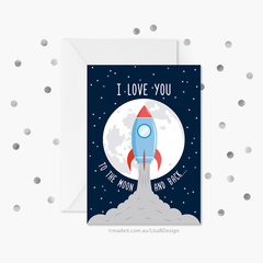 I Love You to the Moon and Back | Valentines Card | Anniversary Card