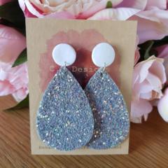 Silver glitter drop earrings
