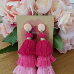 Pink waterfall tassel earrings - large